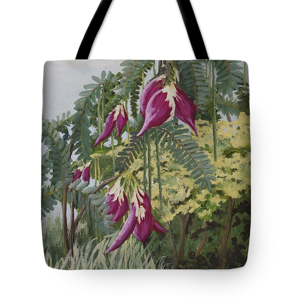 African Tote Bag featuring the painting African Tulip Tree by Kathy Przepadlo