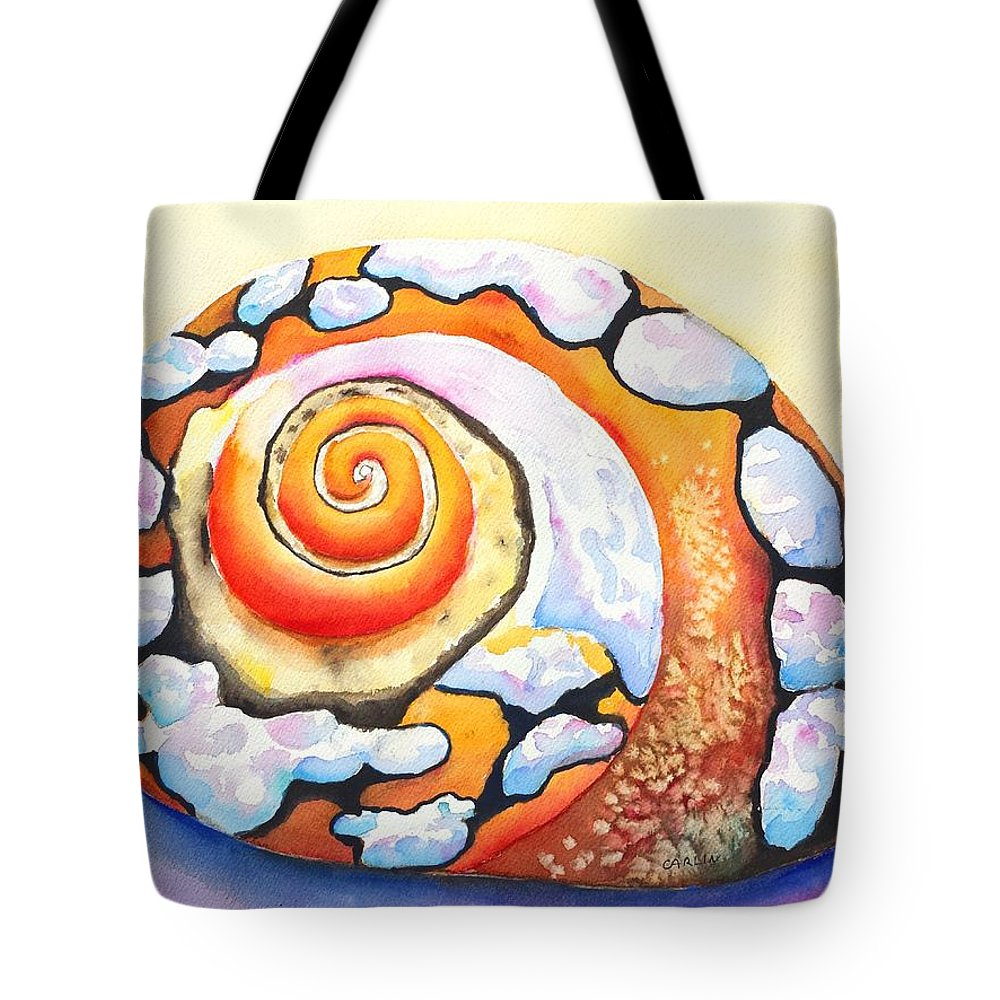 Shell Tote Bag featuring the painting African Turbo Shell by Carlin Blahnik CarlinArtWatercolor