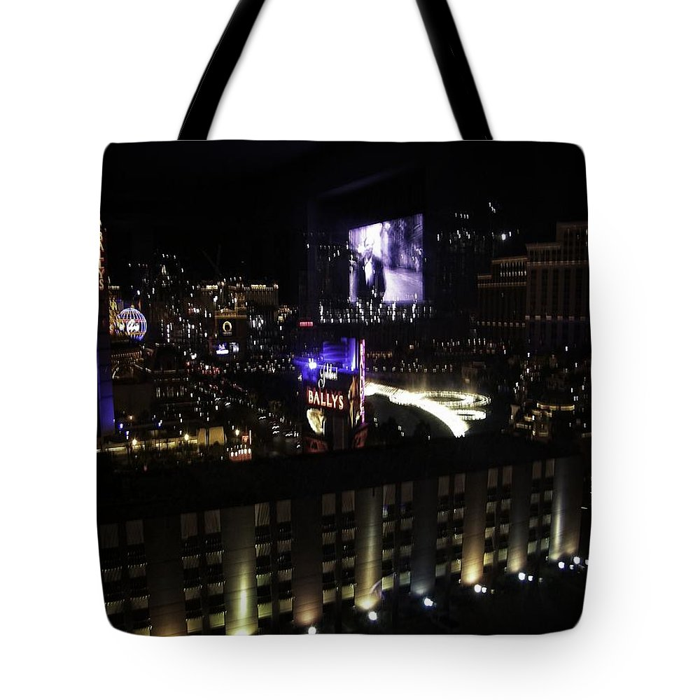Vegas Tote Bag featuring the photograph After Dark In 2008 by Image Takers Photography LLC - Carol Haddon