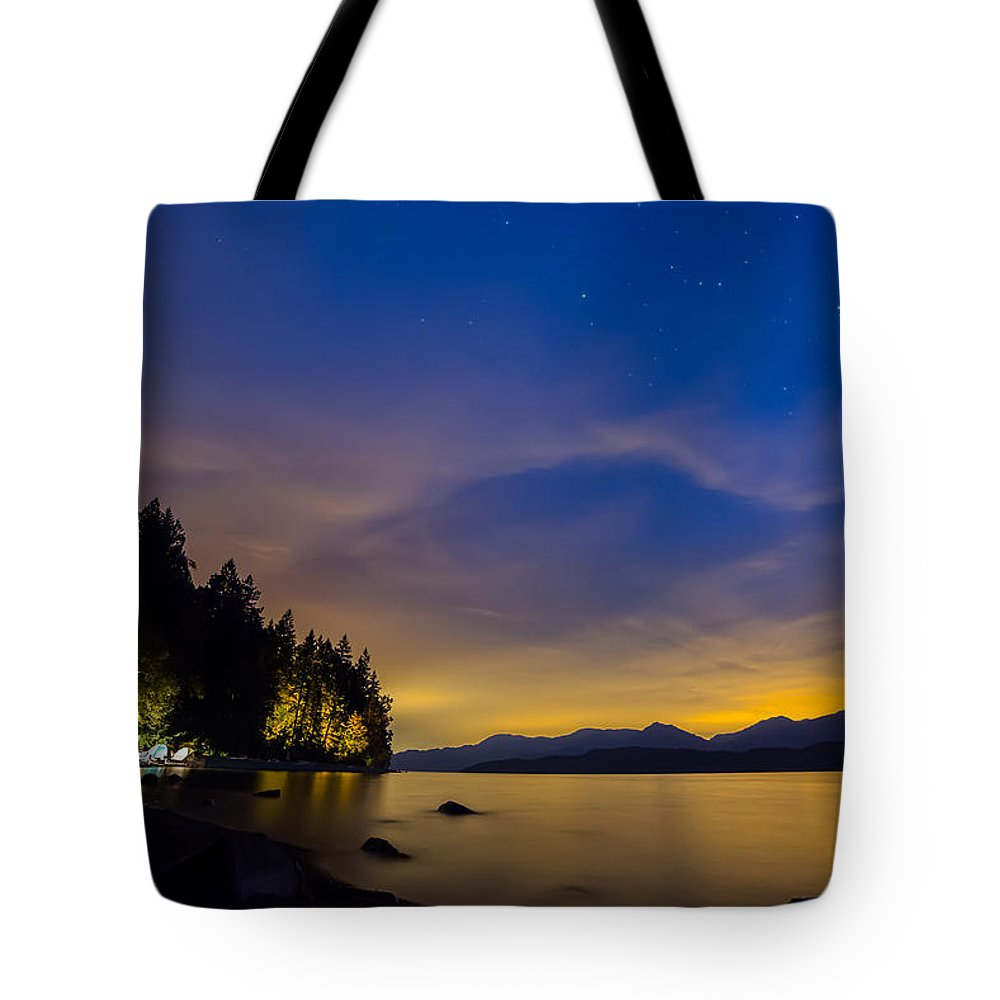 Area Tote Bag featuring the photograph After Dusk by James Wheeler