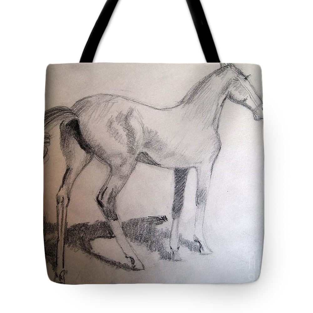 A Beautiful Young Colt Sketched From A Remington Painting Tote Bag featuring the drawing After Remington 2 by Nancy Kane Chapman