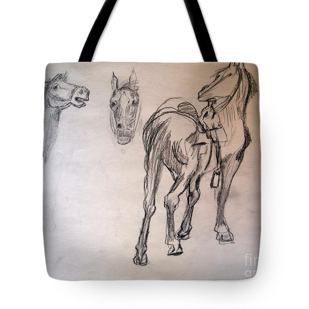 Studies Of Horses After Remington's Paintings Of Horses Tote Bag featuring the drawing After Remington 3 by Nancy Kane Chapman