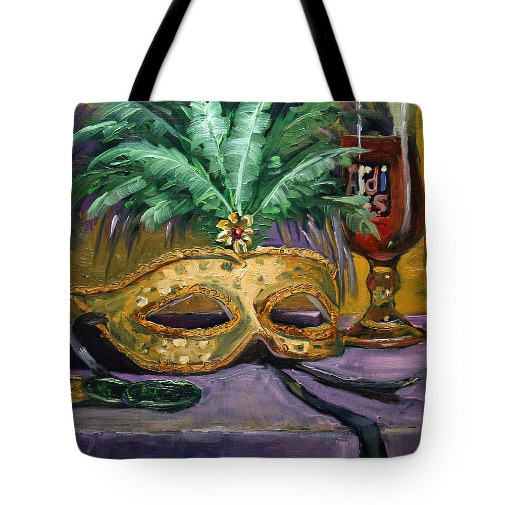 Mardi Gras Tote Bag featuring the painting After The Ball by CB Hume