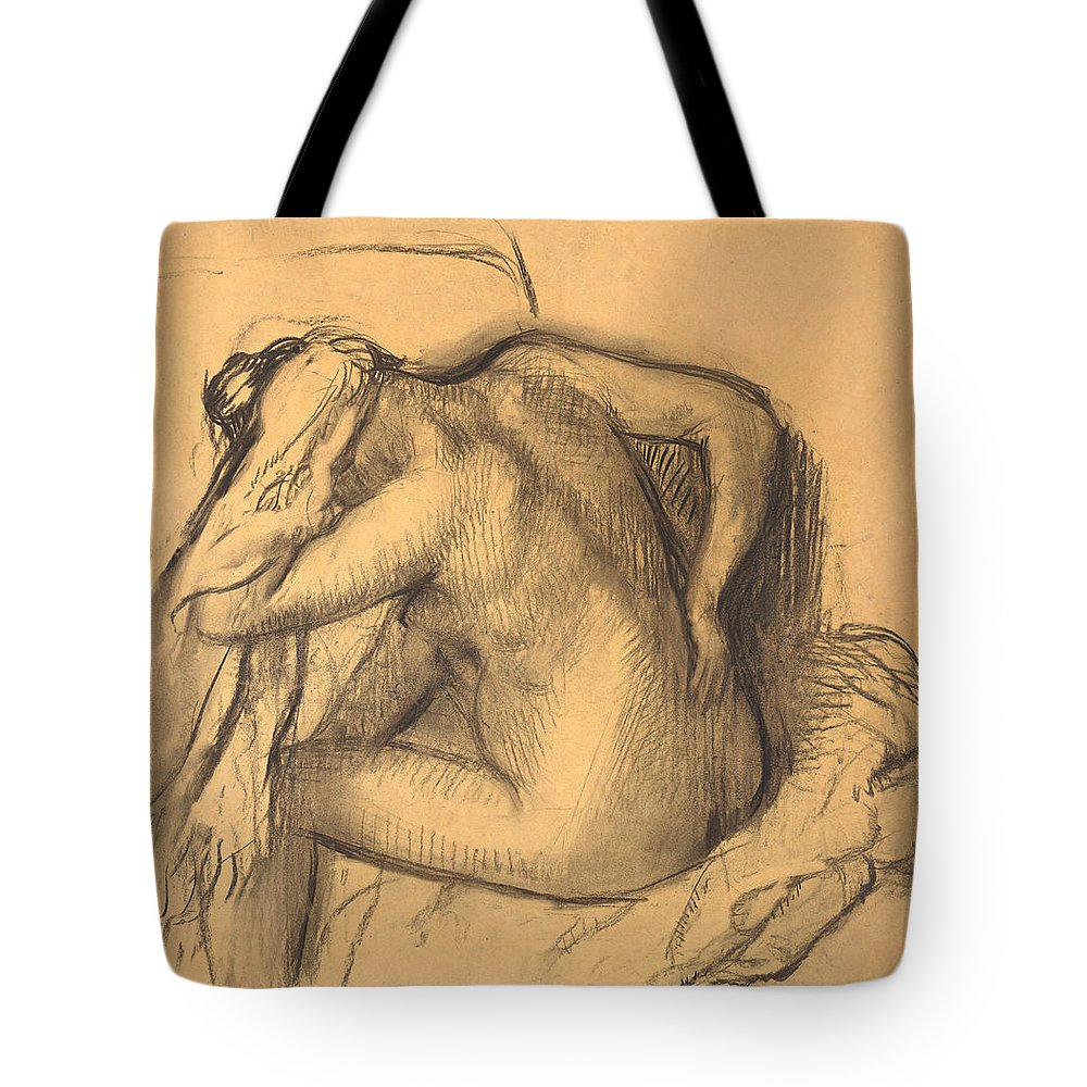 Edgar Degas Tote Bag featuring the drawing After The Bath .woman Drying Her Hair by Edgar Degas
