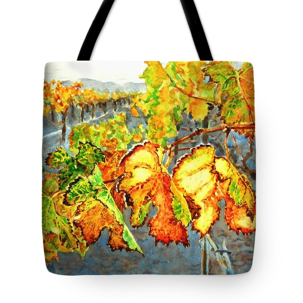 Vineyard Tote Bag featuring the painting After the Harvest by Karen Ilari