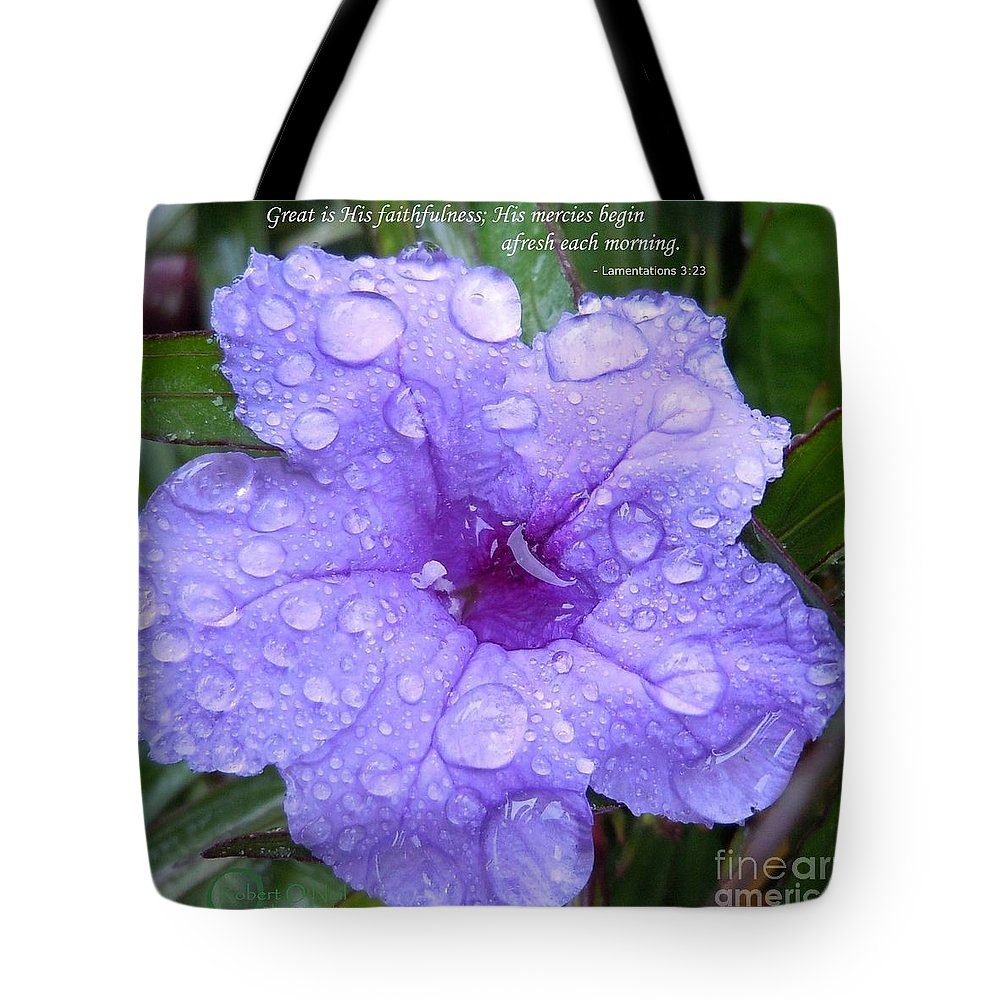 Flower Tote Bag featuring the photograph After The Rain #3 by Robert ONeil