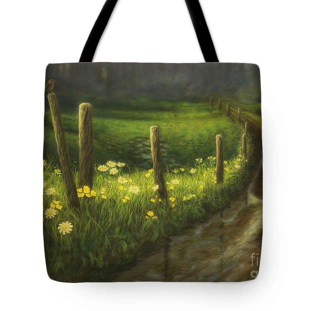 Art Tote Bag featuring the pastel After The Rain by Veikko Suikkanen