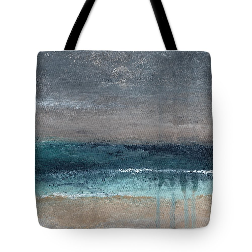 Abstract Landscape Tote Bag featuring the painting After The Storm- Abstract Beach Landscape by Linda Woods
