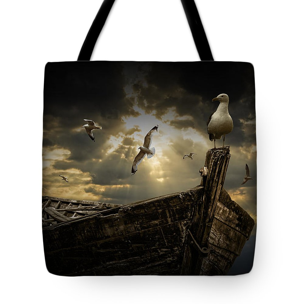 Boat Tote Bag featuring the photograph After The Storm by Randall Nyhof