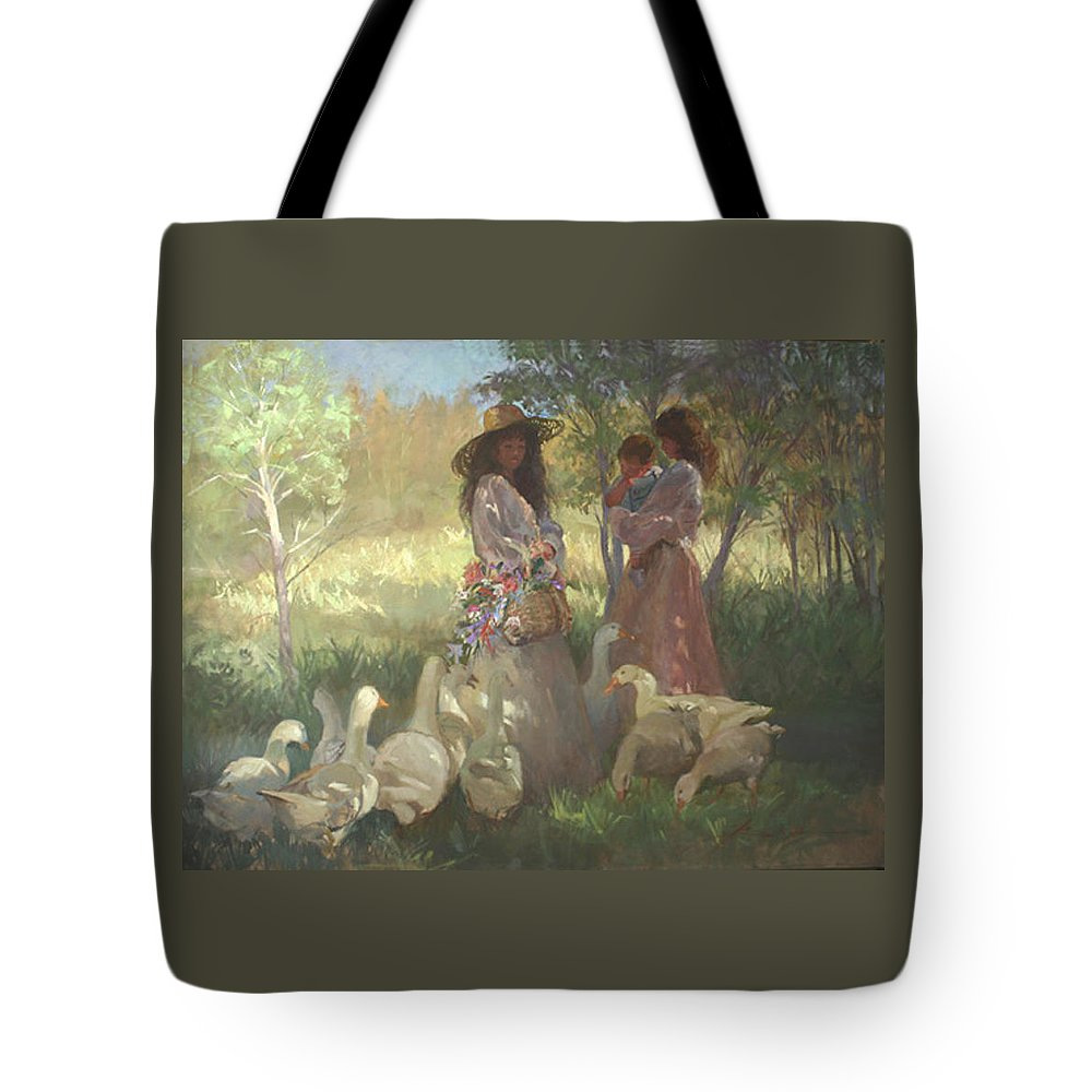 Women Tote Bag featuring the painting Afternoon Gathering by Betty Jean Billups