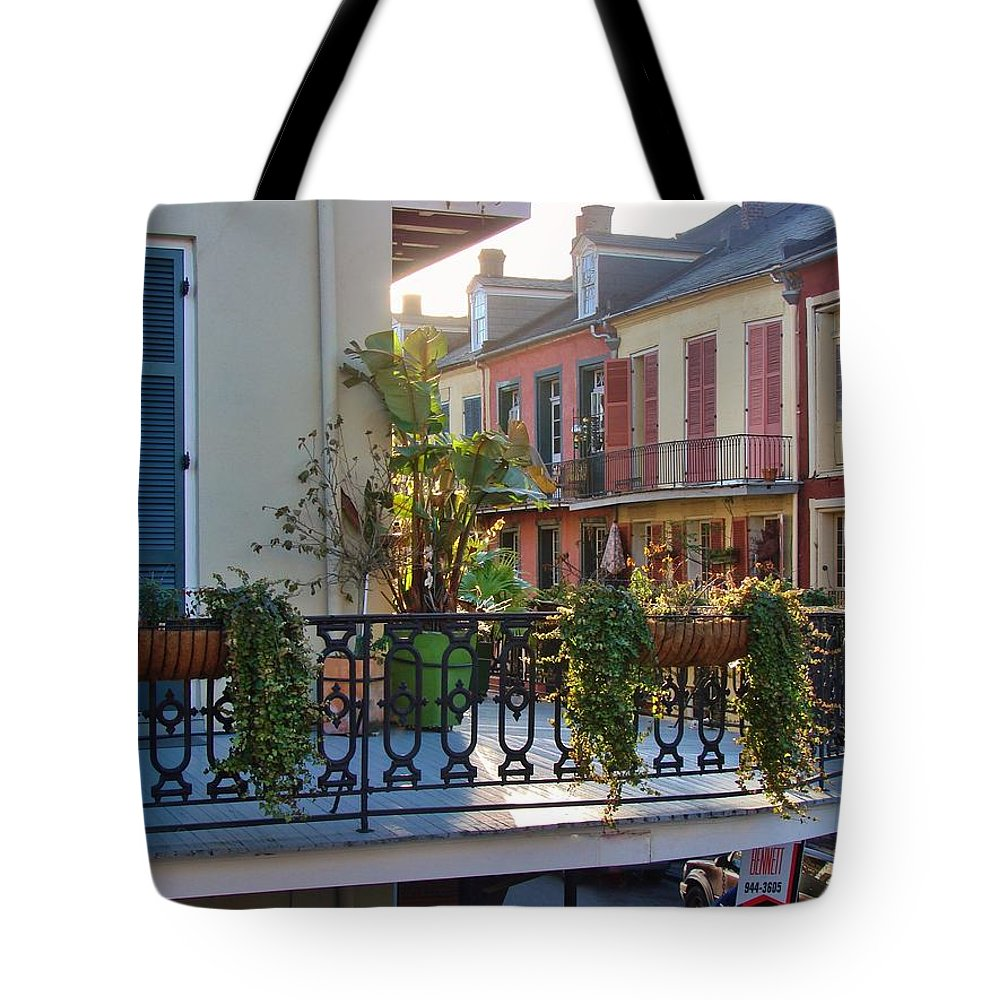 New Orleans Tote Bag featuring the photograph Afternoon On The Balcony by Margaret Bobb