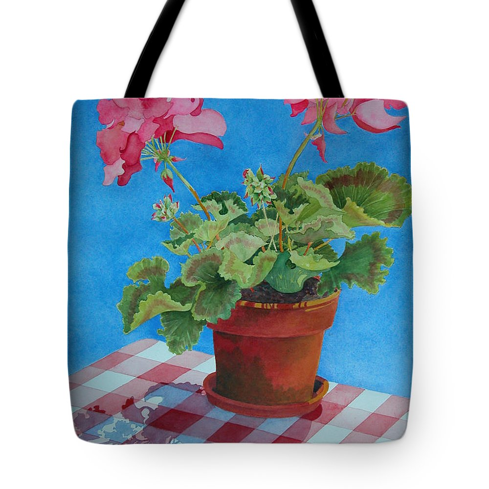 Floral. Duvet Tote Bag featuring the painting Afternoon Shadows by Mary Ellen Mueller Legault
