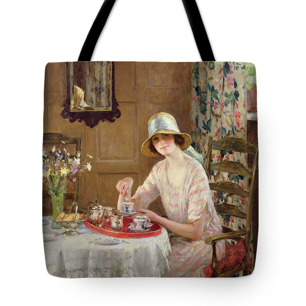 Woman Tote Bag featuring the painting Afternoon Tea by William Henry Margetson