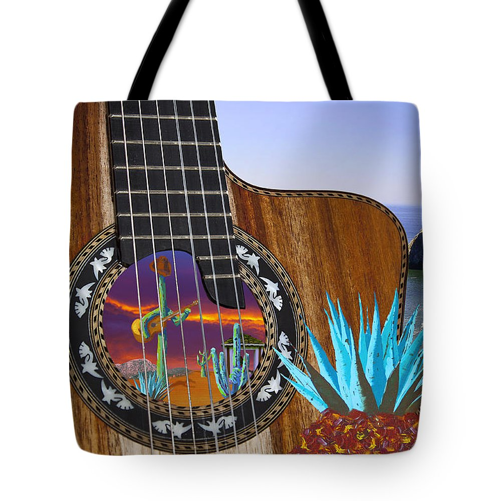 Montage Tote Bag featuring the painting Agave Guitar by Greg Wells