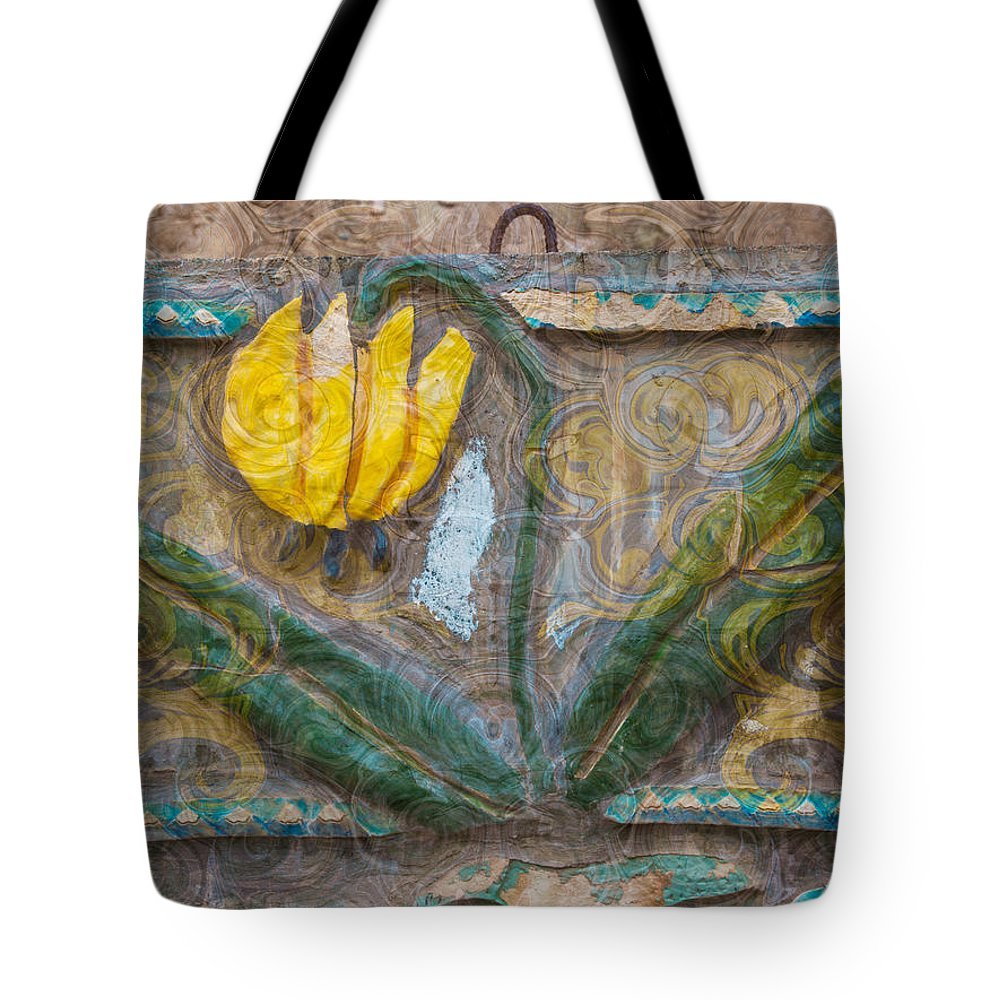 North Cascades Tote Bag featuring the painting Aged Yellow Brilliance by Omaste Witkowski