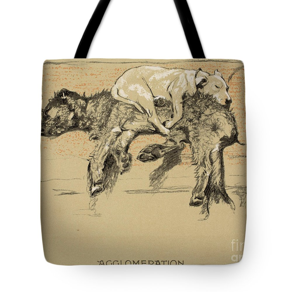 Dogs Tote Bag featuring the painting Agglomeration by Cecil Charles Windsor Aldin