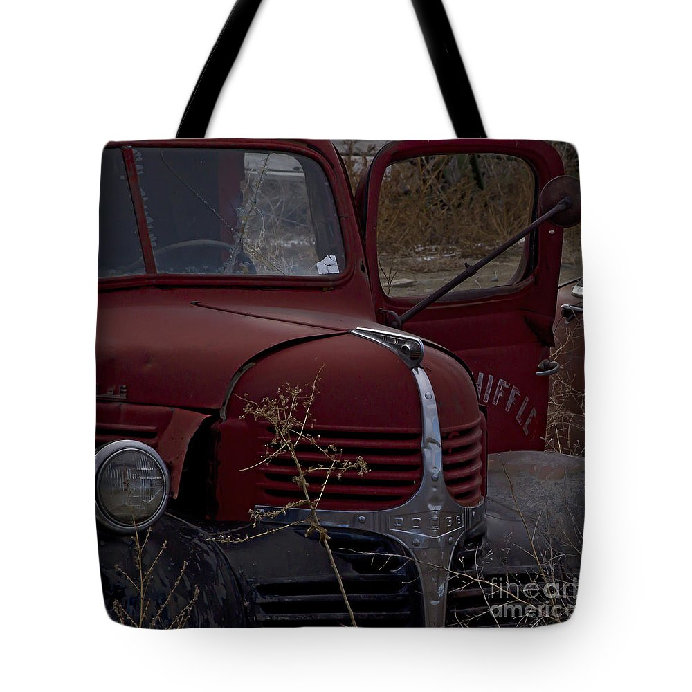 Vehicles Tote Bag featuring the photograph Aging Dodge  #3514 by J L Woody Wooden