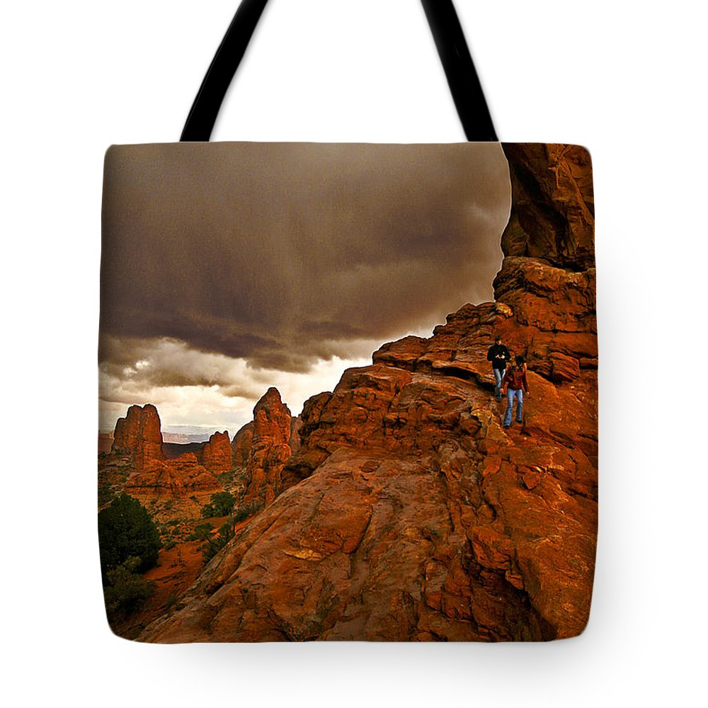 Ahead Of The Storm Tote Bag featuring the photograph Ahead Of The Storm by Wes and Dotty Weber