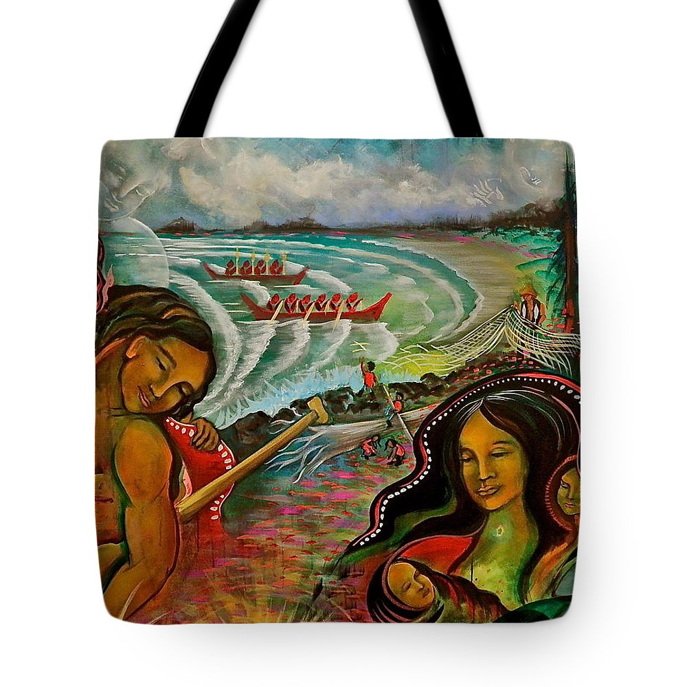 Tote Bag featuring the painting Ahousaht Mural by Crystal Charlotte Easton