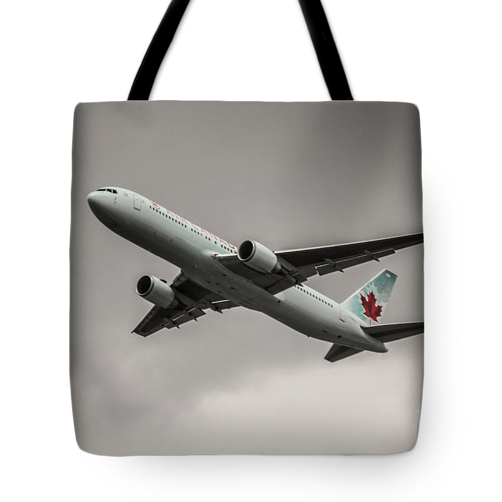 Sky Tote Bag featuring the photograph Air Canada Boeing 767 Monochrome by Rene Triay Photography