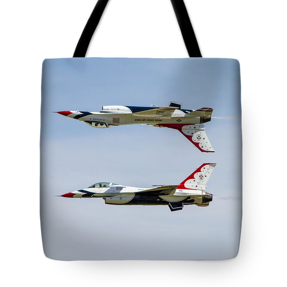 United States Air Force Tote Bag featuring the photograph Air Force Thunderbirds by Bill Gallagher