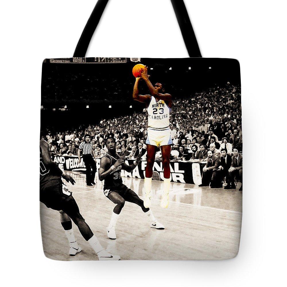 02a52d471bee Michael Jordan Tote Bag featuring the digital art Air Jordan Unc Last Shot  by Brian Reaves