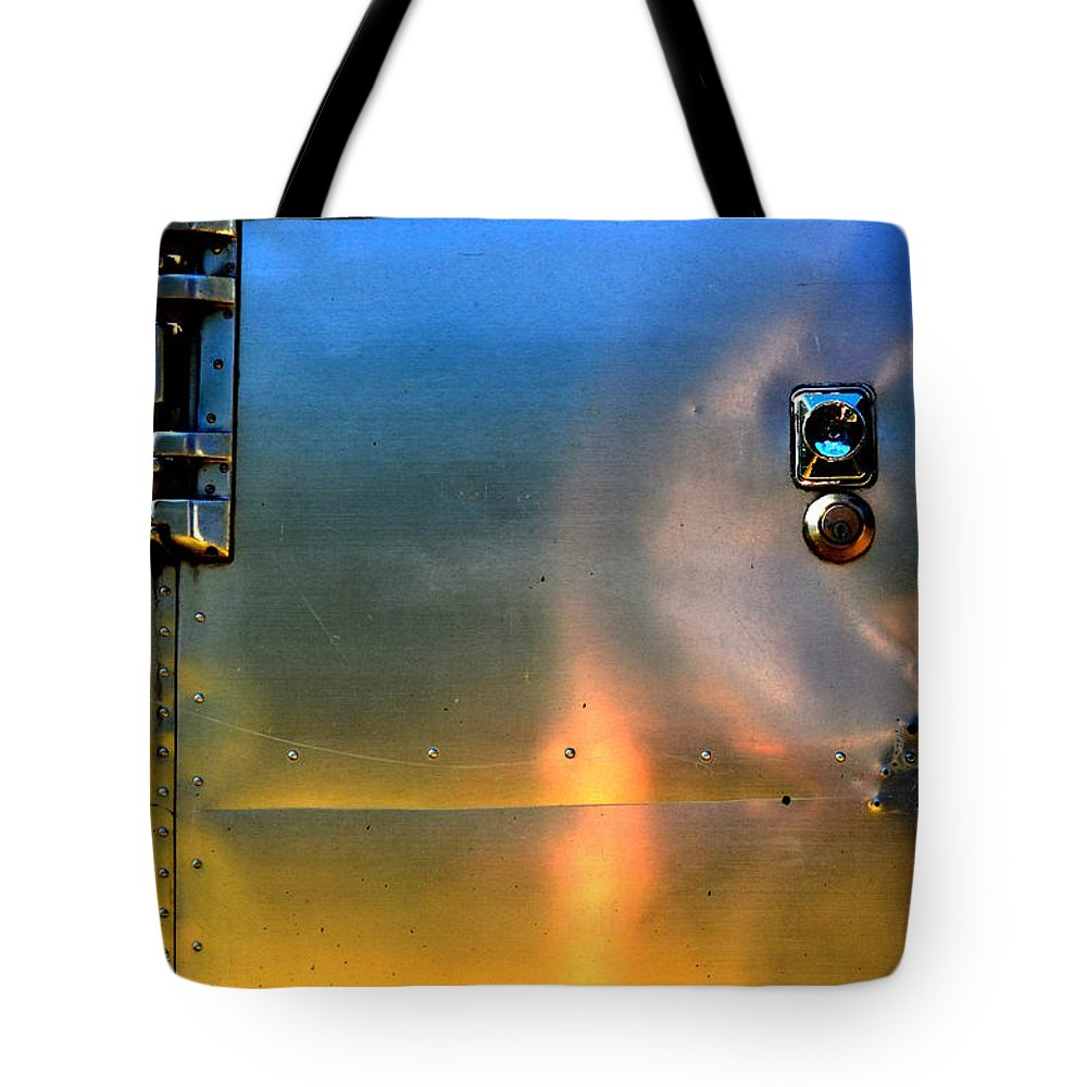 Abstract Tote Bag featuring the photograph Airstream Sunset by Newel Hunter