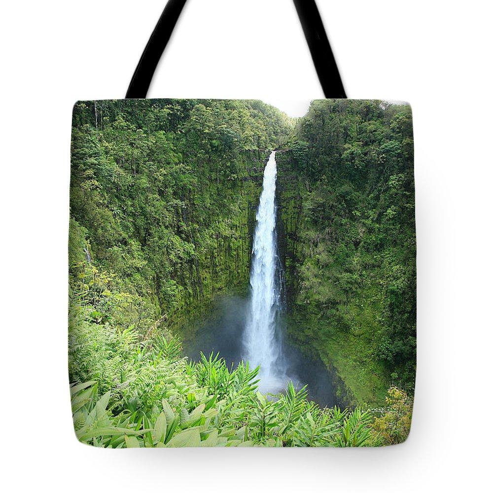 Akaka Falls Tote Bag featuring the photograph Akaka Falls by Peter French - Printscapes