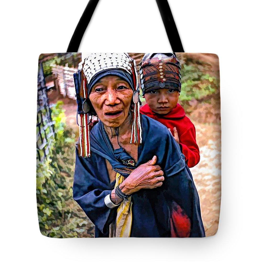 Akha Tote Bag featuring the photograph Akha Tribe II Paint Filter by Steve Harrington