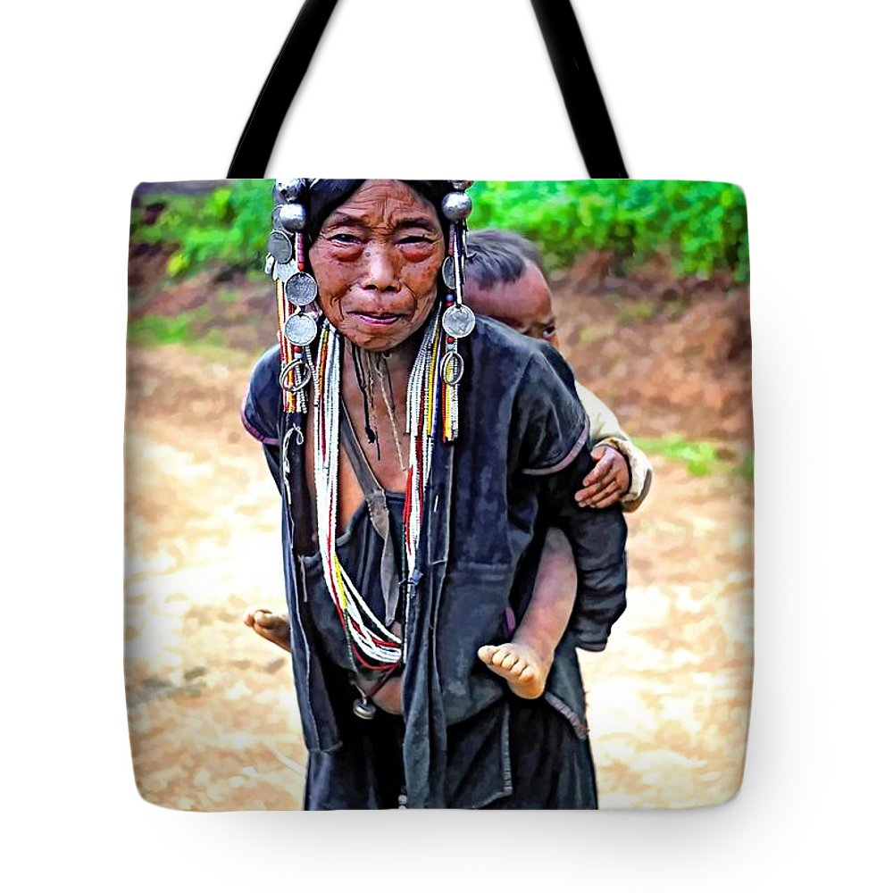 Hill Tribe Tote Bag featuring the photograph Akha Tribe Paint Filter by Steve Harrington