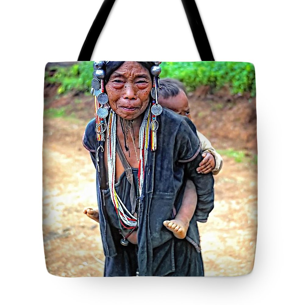 Hill Tribe Tote Bag featuring the photograph Akha Tribe by Steve Harrington
