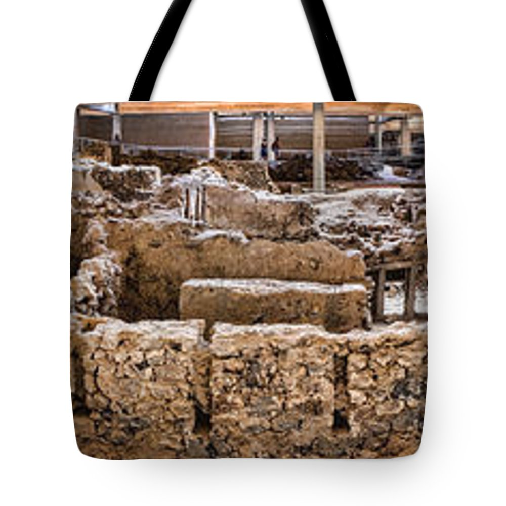 Panorama Tote Bag featuring the photograph Akrotiri Archaeological Site In Santorini by David Smith