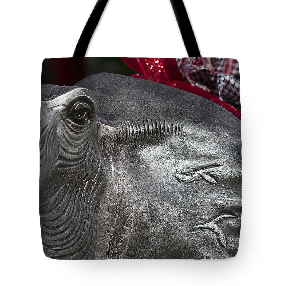 Alabama Football Tote Bag featuring the photograph Alabama Crimson Tide Football Mascot by Kathy Clark