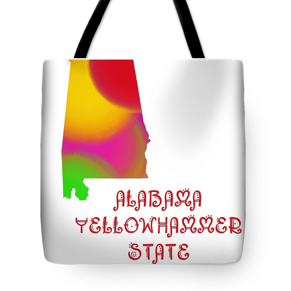 Andee Design Tote Bag featuring the digital art Alabama State Map Collection 2 by Andee Design