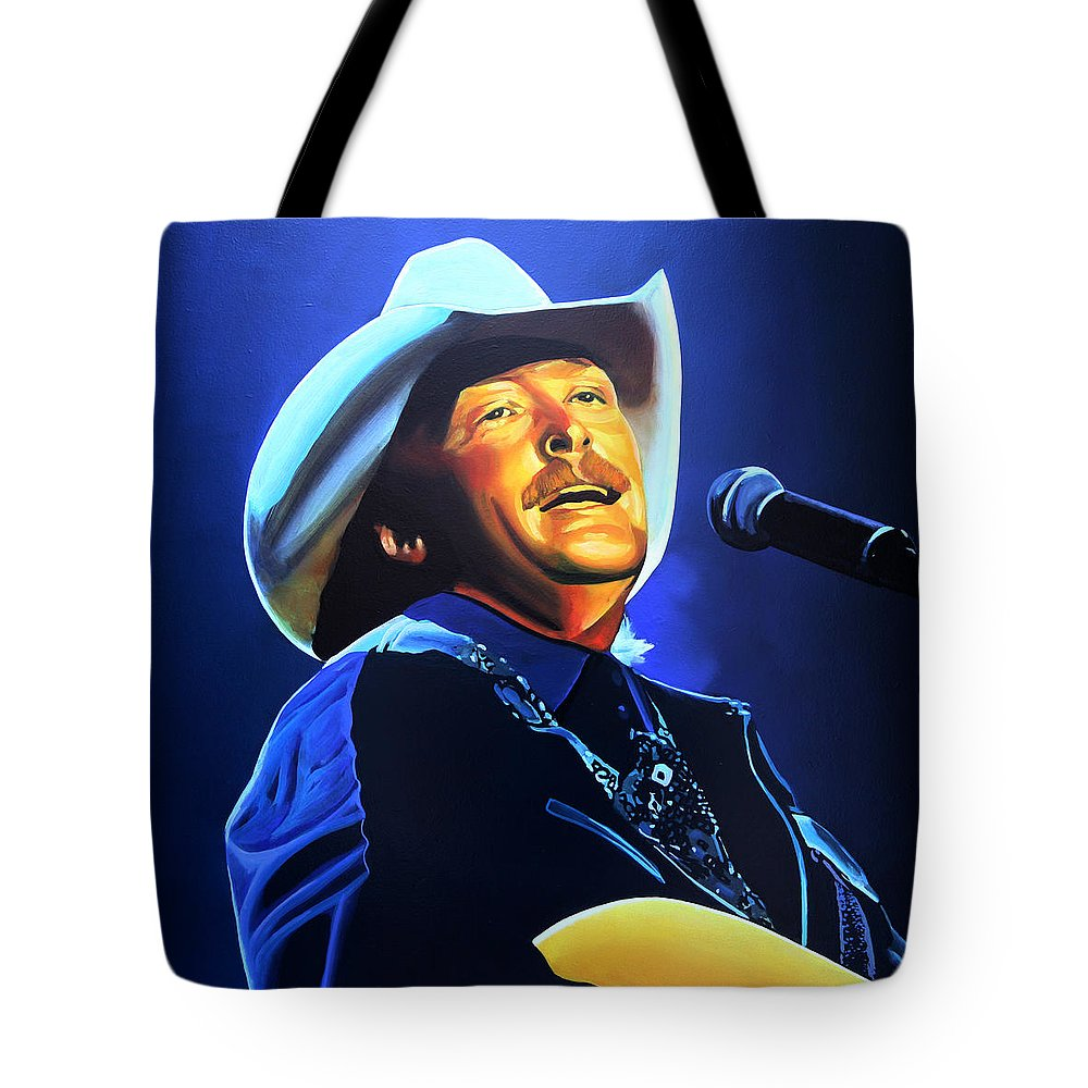 Alan Jackson Tote Bag featuring the painting Alan Jackson Painting by Paul Meijering