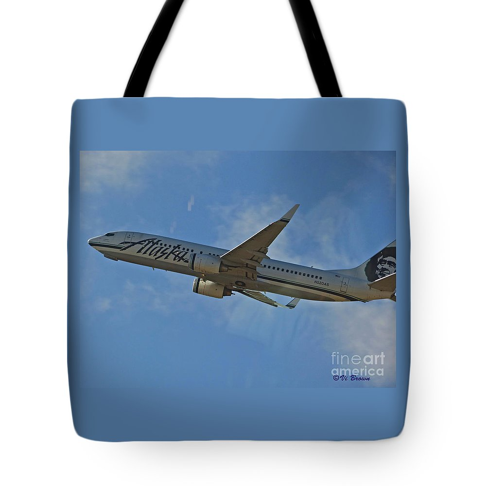 Alaska Air Up And Away Tote Bag featuring the photograph Alaska Air Up And Away by Vi Brown