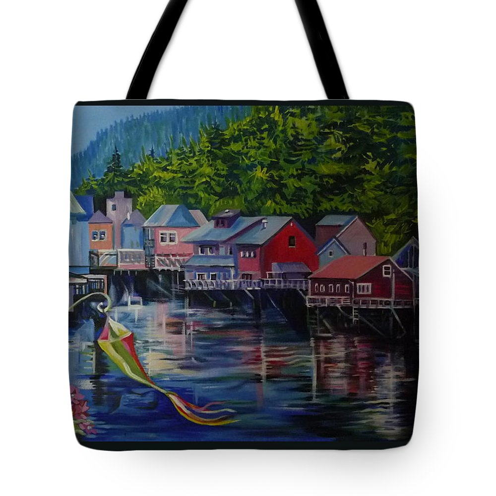 For Sale Tote Bag featuring the painting Alaska. Ketchikan by Anna Duyunova