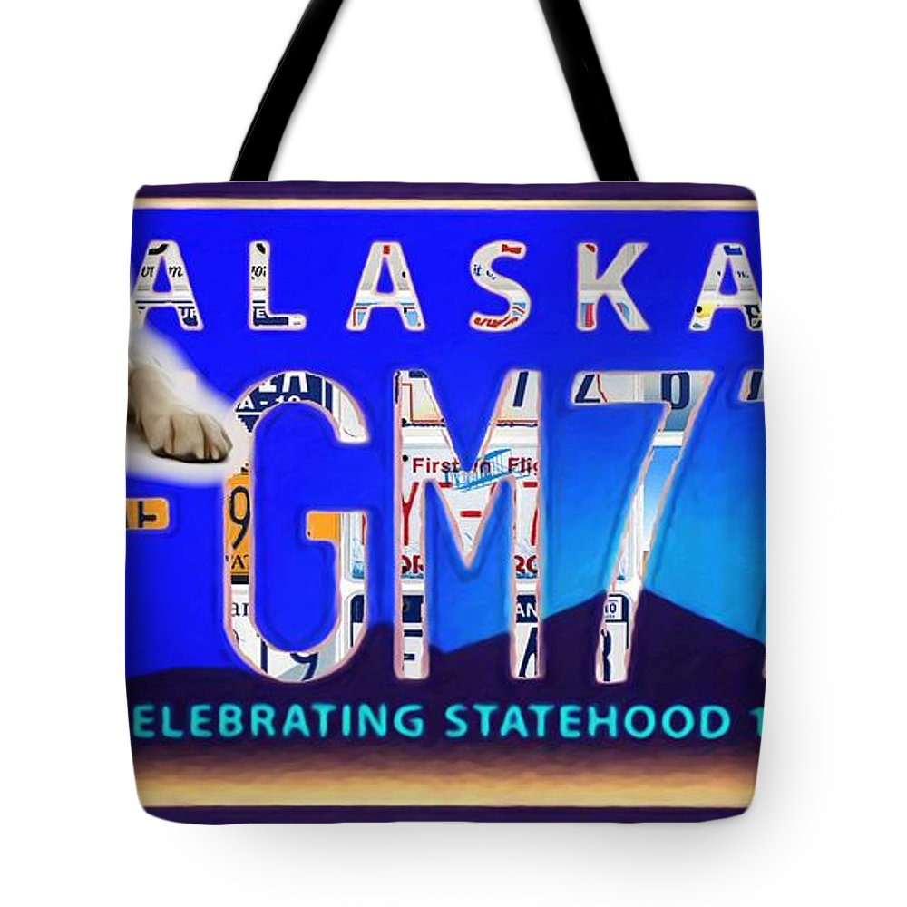 Alaska License Plate Tote Bag featuring the painting Alaska License Plate by Jeelan Clark