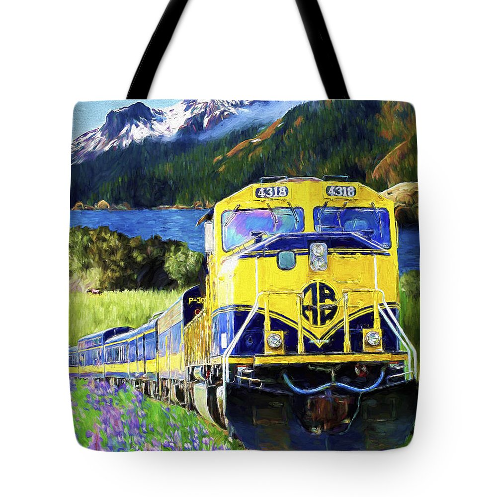 Railroad Tote Bag featuring the painting Alaska Railroad by David Wagner
