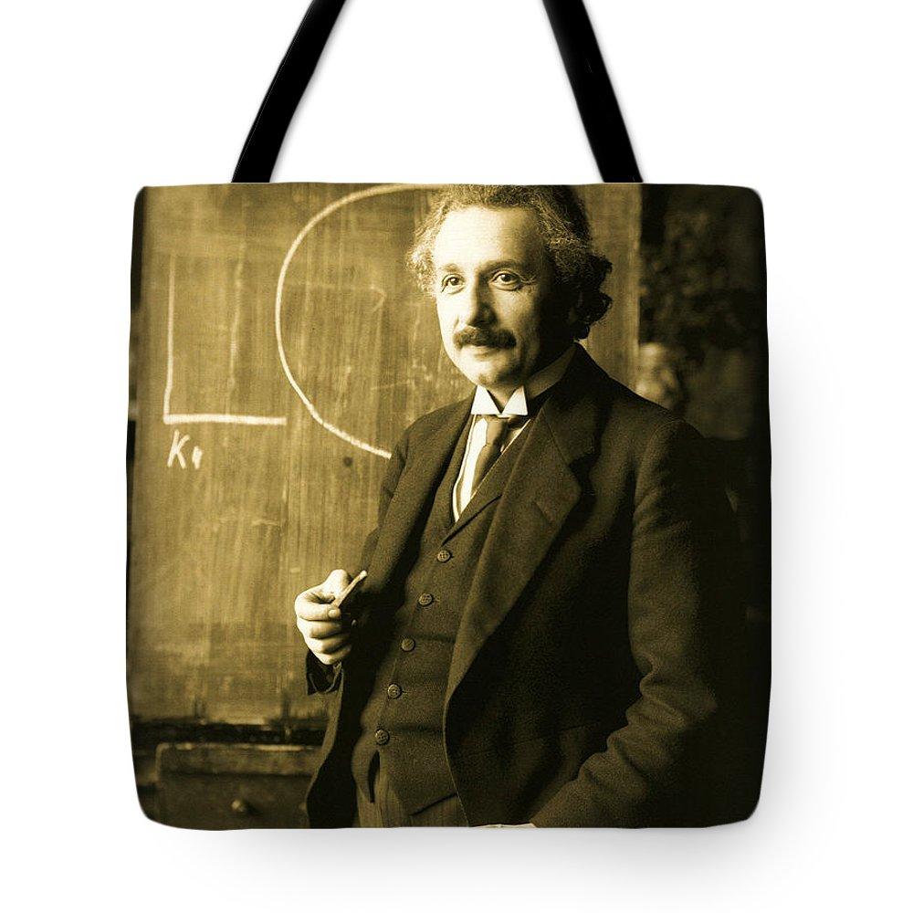 Albert Einstein Tote Bag featuring the photograph Albert Einstein by Celestial Images