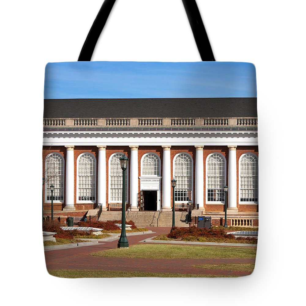 Alderman Library Tote Bag featuring the photograph Alderman Library At Uva by Melinda Fawver