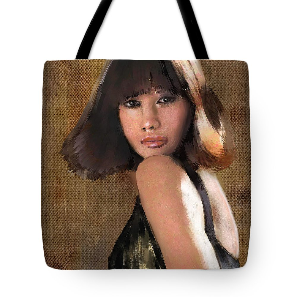 Figure Tote Bag featuring the painting Alexandra by Scott Bowlinger