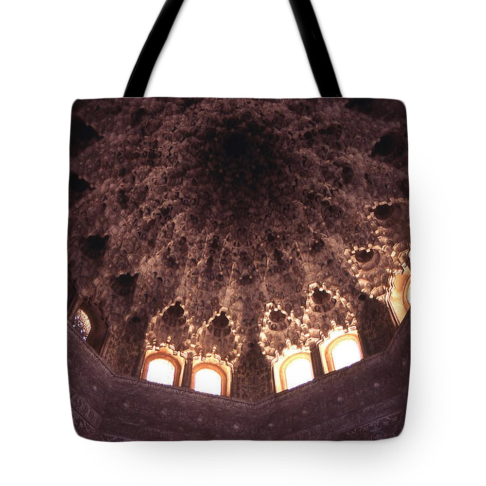 Alhambra Tote Bag featuring the photograph Alhambra Sculpted Domed Ceiling by Richard Thomas