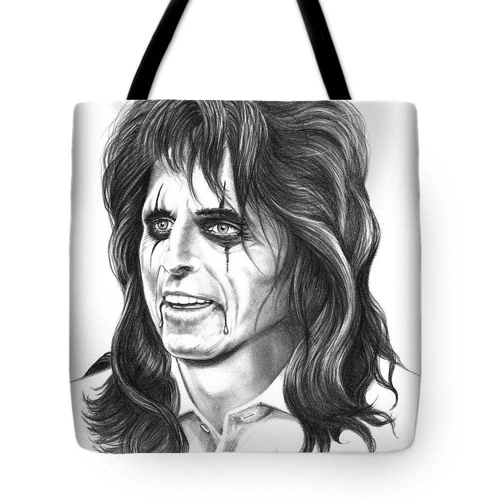 Pencil Tote Bag featuring the drawing Alice Cooper by Murphy Elliott