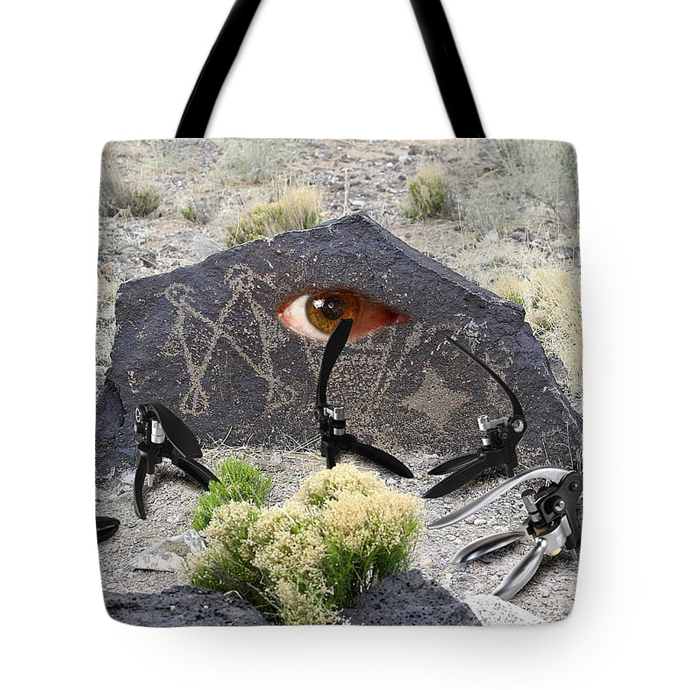 Montages Tote Bag featuring the photograph Alien Battle by Greg Wells