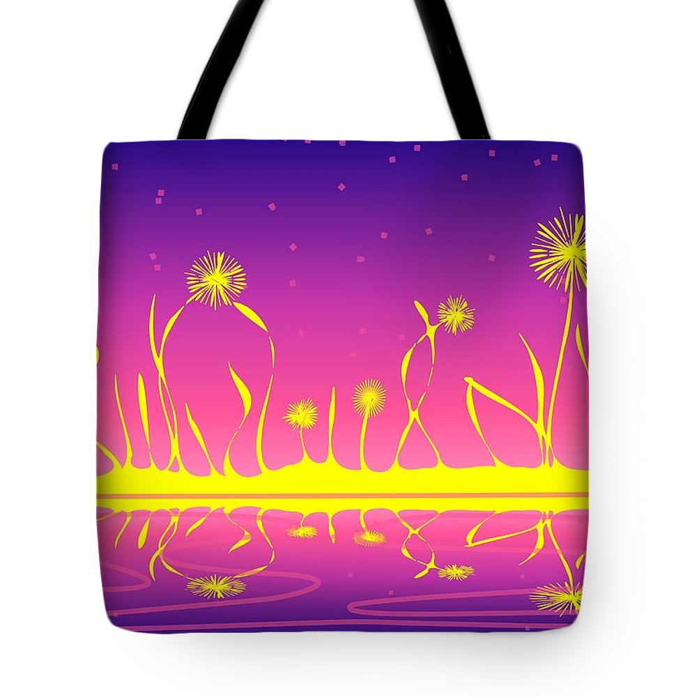 Malakhova Tote Bag featuring the digital art Alien Fire Flowers by Anastasiya Malakhova