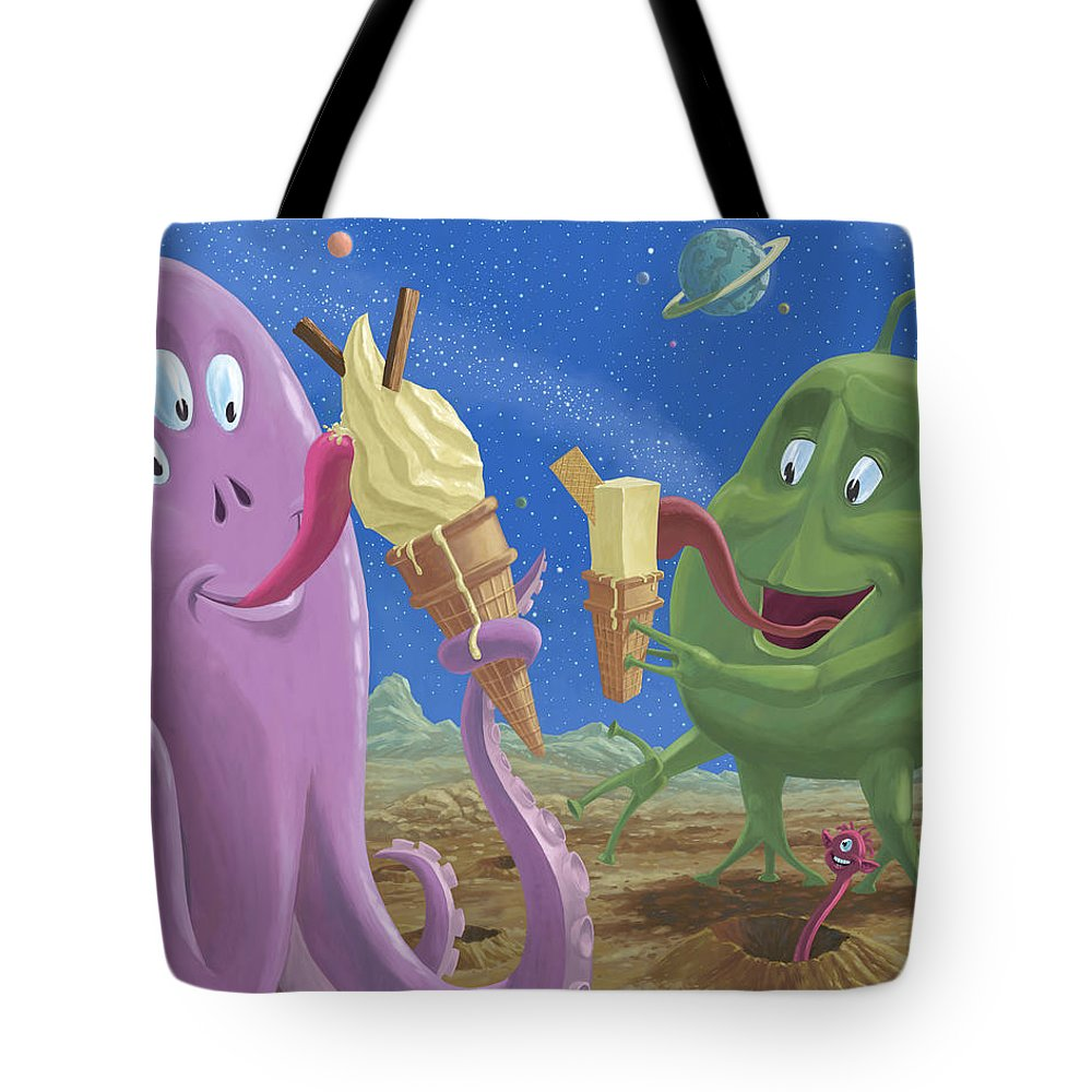99 Flake Tote Bag featuring the painting Alien Ice Cream by Martin Davey