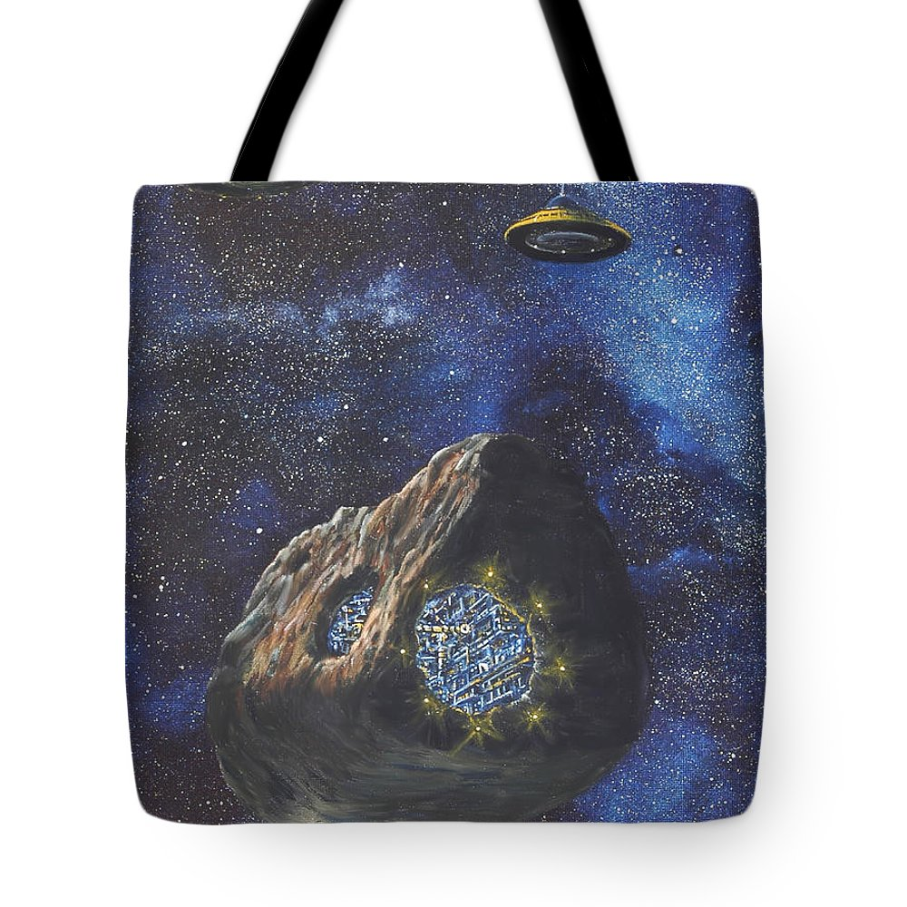 Painting Tote Bag featuring the painting Alien Space Factory by Murphy Elliott