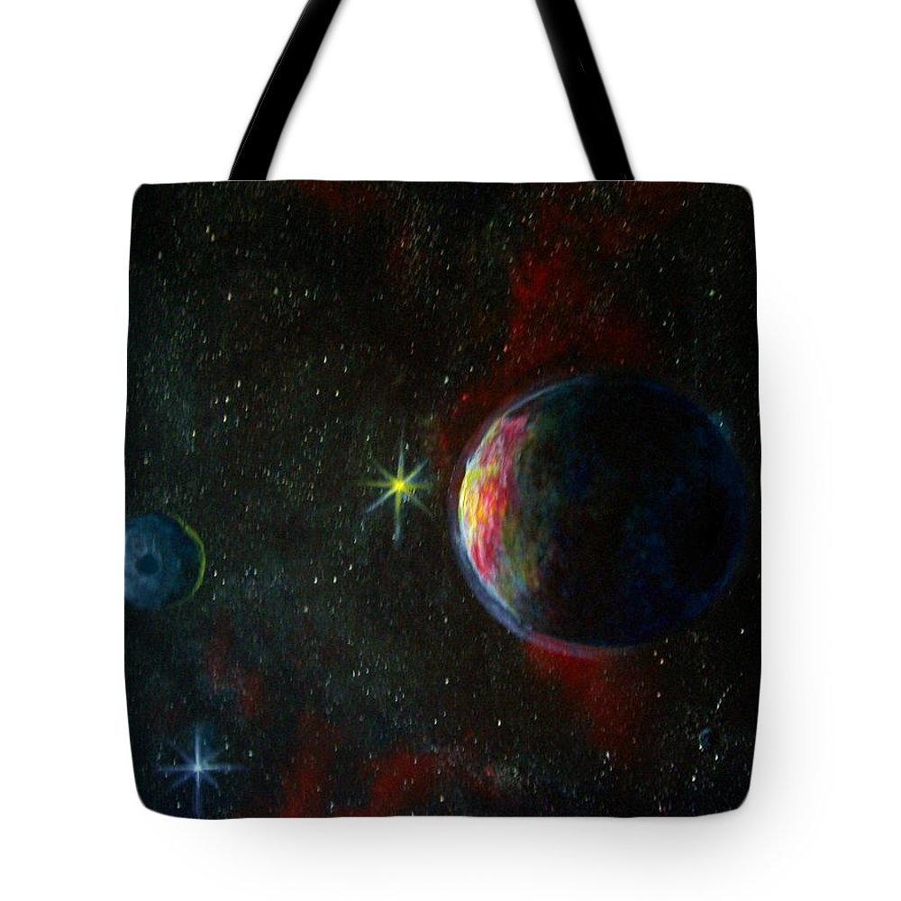 Cosmos Tote Bag featuring the painting Alien Worlds by Murphy Elliott