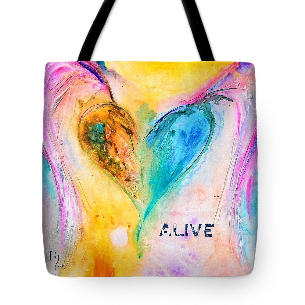 Heart Tote Bag featuring the painting Alive by Ivan Guaderrama